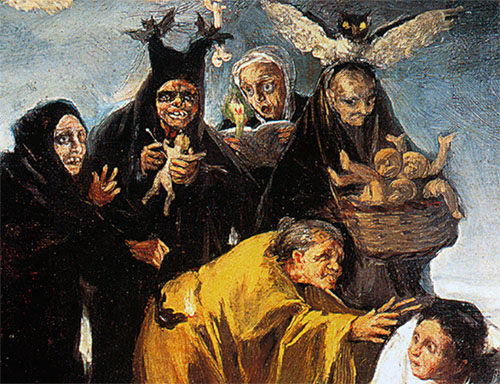"""Francisco de Goya """"Las Brujas"""". Detalle del cuadro del Museo Lázaro Galdiano"""