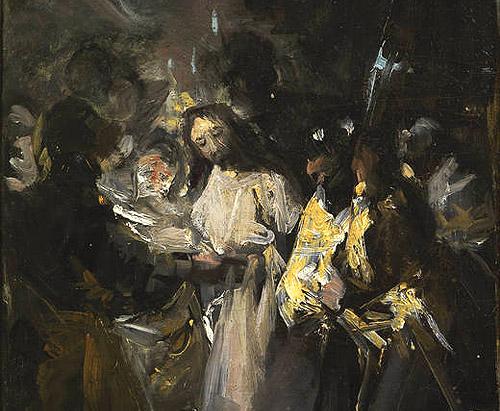 """Detalle de la obra """"El Prendimiento de Cristo"""" de Goya. Museo del Prado cedida temporalmente al Museo Lázaro Galdiano"""