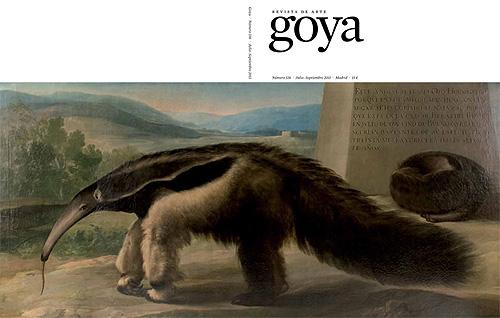 """Cuadro """"La osa hormiguera de Su Majestad"""" nueva atribución a Francisco de Goya. Portada del número 336 de la revista de arte """"Goya""""."""