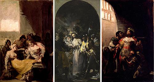 Tres bocetos de Goya muy similares. Los laterales del Museo Lázaro Galdiano y el central del Museo del Prado.