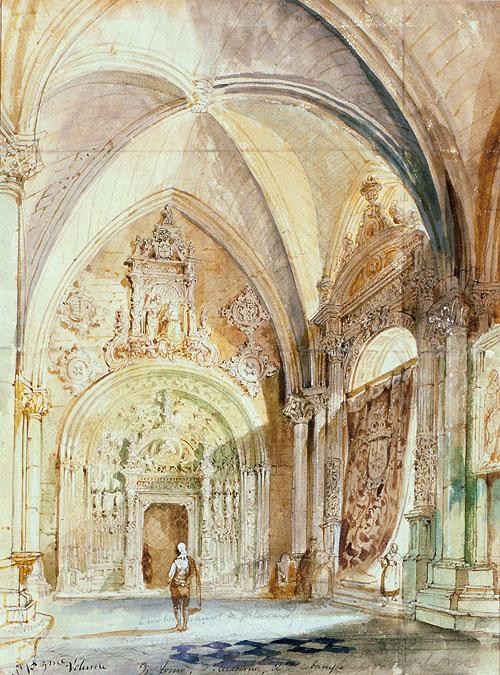 """Puerta de la capilla de la torre de la Catedral de Toledo"". Jenaro Pérez Villaamil. Museo Lázaro"
