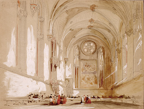 """""""Refectorio de la Catedral de Pamplona"""" Jenaro Pérez Villaamil. Museo Lázaro Galdiano"""