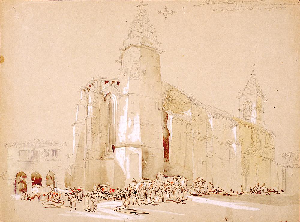 """""""Vista de la iglesia de Santiago de Betanzos"""" Dibujo de J. P. Villaamil. Museo Lázaro Galdiano. Hacer click para ver a mayor tamaño"""