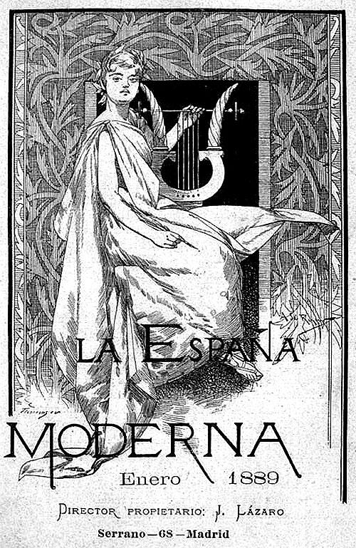 """Portada del número 1 de la revista """"La España Moderna"""" por Alexandre de Riquer. 1889"""
