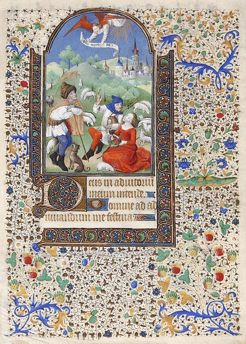 """""""Anuncio a los pastores"""". Hoja suelta de libro de horas. Inventario Biblioteca Lázaro Galdiano 15288-37"""