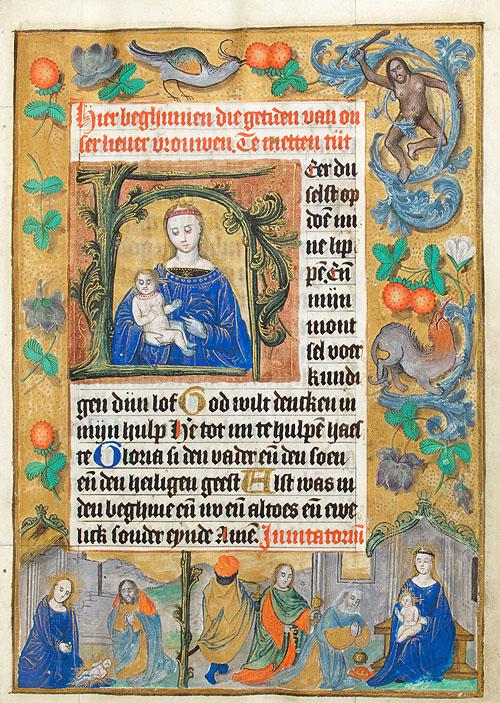 """""""Virgen con el Niño"""" libro de horas del Maestro de los ojos oscuros (Holanda hacia 1500)"""