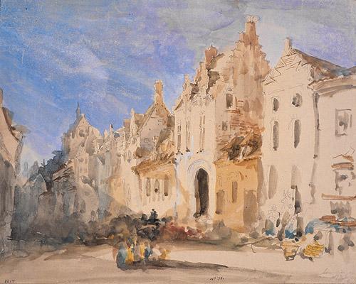 Calle Diest en Lovaina (Bélgica). Acuarela de Jenaro Pérez Villaamil en el Museo Lázaro Galdiano