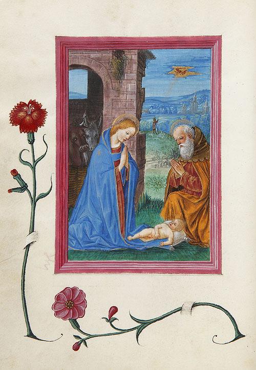 """""""Nacimiento de Jesús"""". Libro de horas de Gian Giacomo Trivulzio. Inventario de la Biblioteca Lázaro Galdiano nº 15454, f. 70v."""