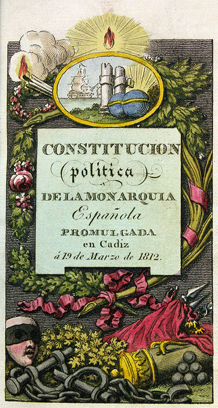 Portada de la Constitución de 1812 conservada en la Biblioteca de la Fundación Lázaro Galdiano