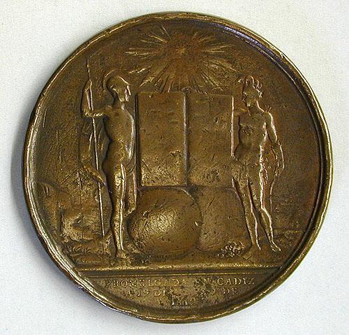 Reverso de medalla que conmemora la Constitución de 1812 conservada en el Museo Lázaro Galdiano
