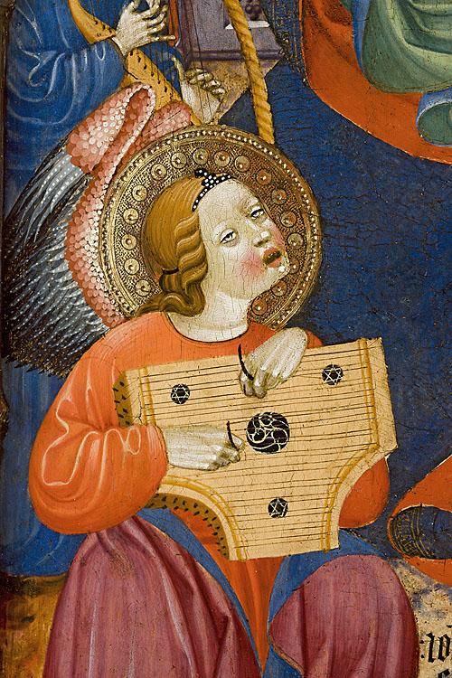 """Instrumentos musicales medievales en un detalle de la obra de Juan Hispalense """"Virgen con ángeles músicos"""" del Museo Lázaro Galdiano. Foto © Selenio 2012"""