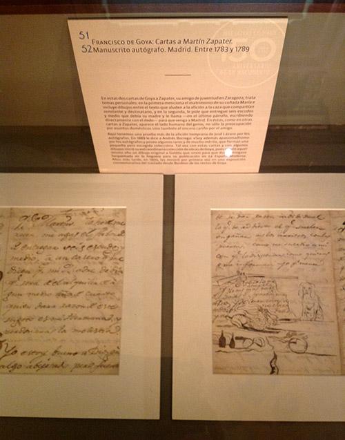 """Cartas de Goya a Martín Zapater en la exposición """"Itinerario y memoria de José Lázaro. Editor, coleccionista, bibliófilo"""""""