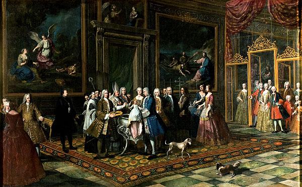 """Antonio González Ruiz: """"Bautizo de la infanta Isabel"""", hacia 1742. Colección Carlo d'Amelio (Italia). Revista """"Goya"""" 339"""