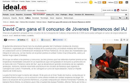 Concierto de David Caro. David Caro gana el II concurso de Jóvenes Flamencos del IAJ