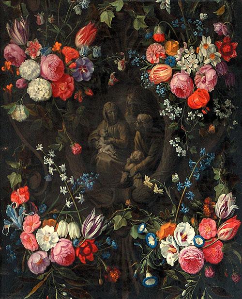 """Sacristía de la Catedral de Toledo. Daniel Seghers: """"Guirnalda de flores con la Sagrada Familia con Santa Isabel y San Juanito"""", c. 1634."""