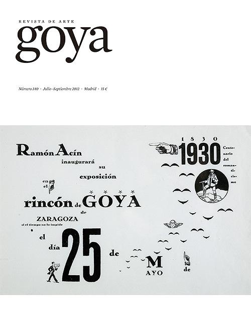 """Portada del número 340 de la revista de arte """"Goya"""". Julio a septiembre de 2012"""