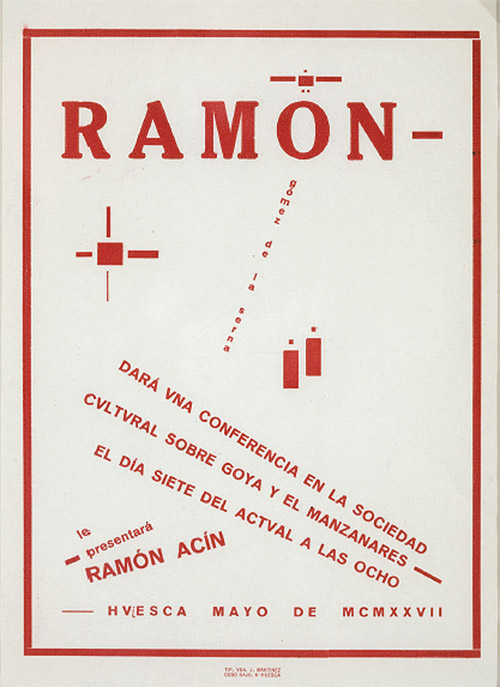 Ramón Acín: Cartel de la conferencia de Gómez de la Serna en Huesca, 1927. (Foto: F. Alvira. Museo de Huesca)