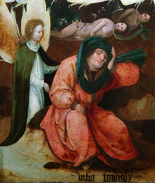 """Inscripción """"Visio Tondali"""", caballero central y ángel en """"La visión de Tondal"""" del Museo Lázaro Galdiano, obra de un seguidor de """"El Bosco"""""""