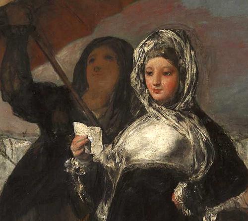 """Detalle central del lienzo de Goya """"Las jóvenes o La carta"""". Obra invitada en el Museo Lázaro Galdiano"""