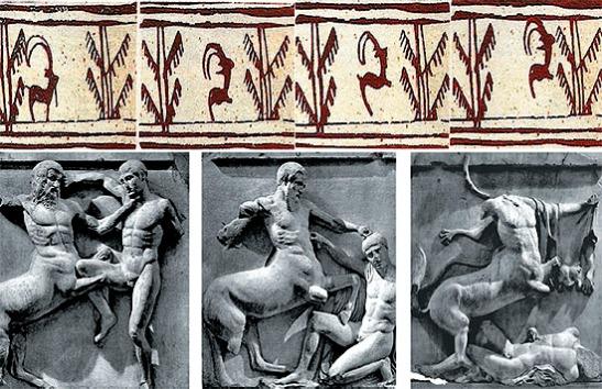 """(Arriba) Decoración de una vasija de cerámica encontrada en Schahr-e Sochte, Irán, c. 3000 a. C. (Abajo) Fidias y su taller: """"Centauromaquia"""", metopas del lado sur del Partenón. British Museum, Londres, c. 440 a. C."""