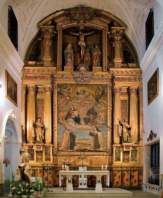 Alonso García Becerro: Retablo mayor de la iglesia conventual de carmelitas descalzas de San José, Toledo, 1641. Lienzo principal de Antonio Pereda.