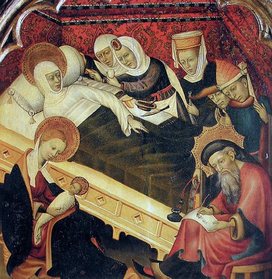 """""""Nacimiento del Bautista"""" por Bernat Martorell. C. 1434-1435. MNAC, Barcelona"""