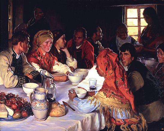 """Sotomayor: """"Comida en Bergantiños"""", 1916-1917. Museo de la Real Academia de Bellas Artes de San Fernando, Madrid. (Foto: Cortesía del Museo)"""