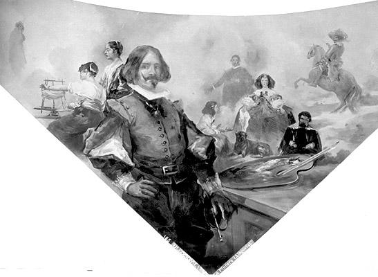 """EUGENIO LUCAS VILLAMIL: """"Alegoría de la Pintura"""". 1906. Detalle del techo de la sala 13 del Museo Lázaro Galdiano"""