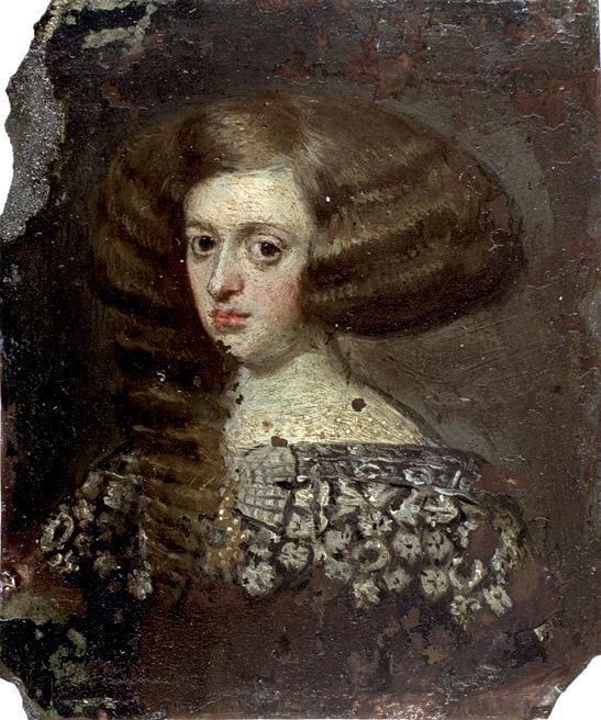 """Círculo de Velázquez: """"Retrato de dama"""". Hacia 1650. 76 x 63 mm. Museo Lázaro Galdiano"""