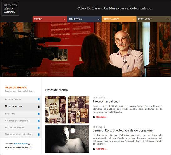 Sección Área de prensa de la nueva web de la FLG