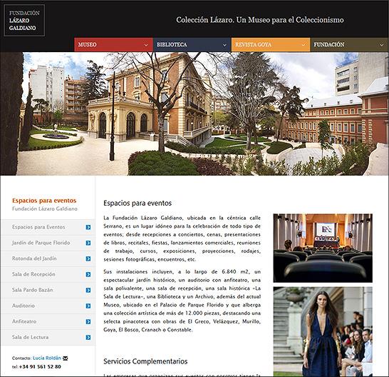 Sección Espacios para eventos en la nueva página de la FLG