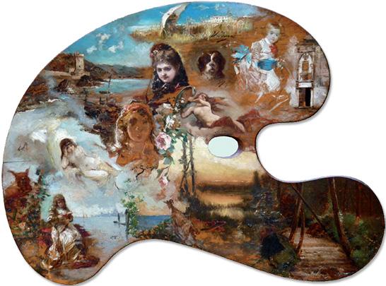 Paleta pintada por varios pintores de la Escuela española en Roma