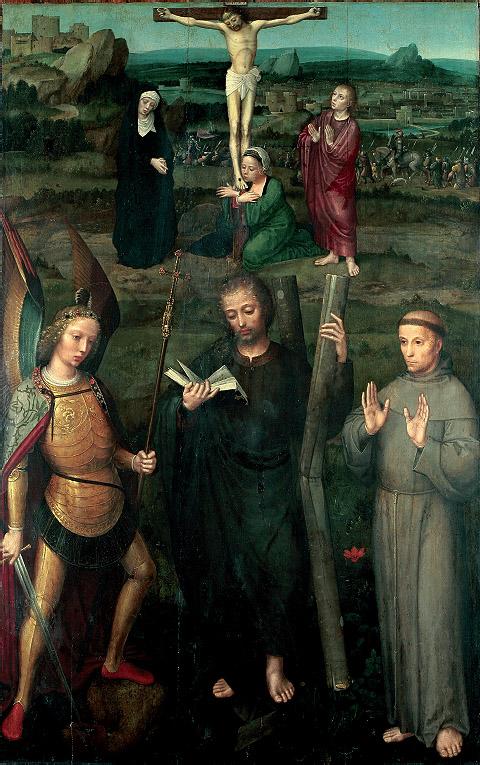 """Adriaen Isenbrant: """"Calvario con los santos Miguel, Andrés y Francisco de Asís"""", ca. 1520-30. Szépmüvészeti Múzeum, Budapest. (Foto: IRPA, Bruselas)"""