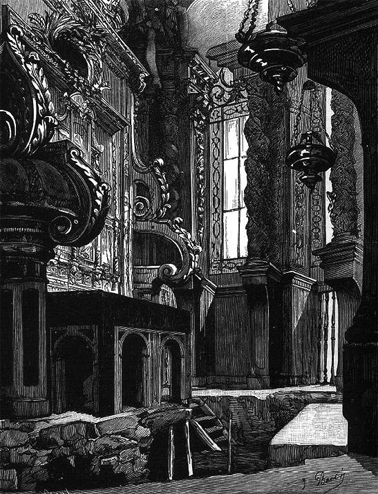 """La mesa del trasaltar antes de su desmontaje y destrucción (""""La Ilustración Gallega y Asturiana"""", 1879, 91)"""
