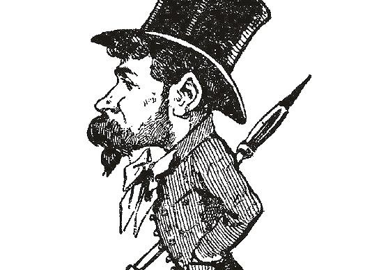 """Caricatura de Manuel Luque de Soria por D. Perea (""""Calabazas y cabezas"""" 1880)"""