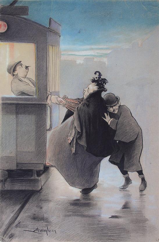 """Dibujo de Medina Vera que acabó siendo portada de """"Madrid Cómico"""" (Museo Lázaro Galdiano)"""