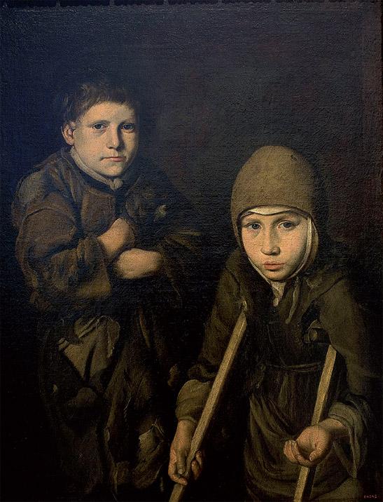 ANÓNIMO ITALIANO: Muchachos mendigos, finales del siglo XVII.  © MNAC (Foto: Calveras/Mérida/Sabristà)
