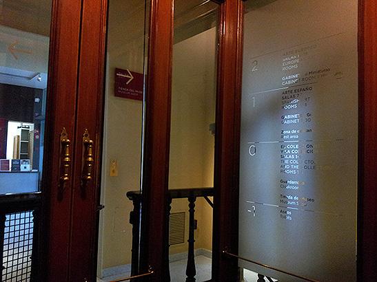 Imagen desde el interior del ascensor del Museo Lázaro Galdiano