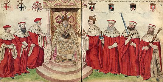"""""""El Emperador Carlos V y los siete príncipes electores"""", ff. 35v-36r. """"Códice de Trajes"""", ca. 1547. BNE, Madrid"""