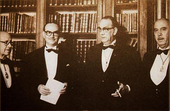 Dámaso Alonso, Antonio Rodríguez Moñino, Camilo José Cela y Guillermo Díaz Plaja.