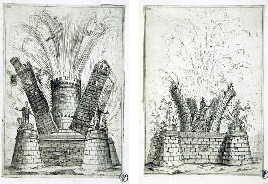 Maquina pirotécnica patrocinada por el Marqués de Castel Rodrigo. Grabado de Claude Lorraine