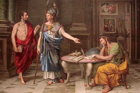 "Francisco Javier Ramos: ""Encuentro entre dos filósofos presidido por Minerva"", 1785. Palazzo di Spagna, Roma."