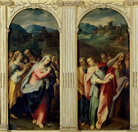 """Gregorio Martínez: """"Santas mujeres y Santos apóstoles"""", hojas del tríptico, ca. 1581. Museo Nacional del Prado."""