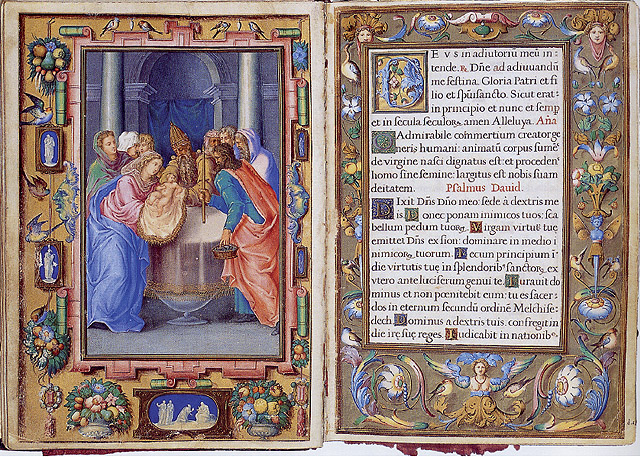 """FRAY ANDRÉS DE LEÓN: """"Presentación de Jesús en el Templo"""", 1568. Real Biblioteca del Monasterio de San Lorenzo de El Escorial, Vitrina 2, Breviario de Felipe II (Liber Missarum et Officiorum), f. 18v y Marco, f. 19r."""