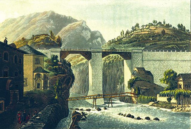RUDOLPH ACKERMANN (A PARTIR DE GABRIEL LORY): Puente de Crevola, 1818.