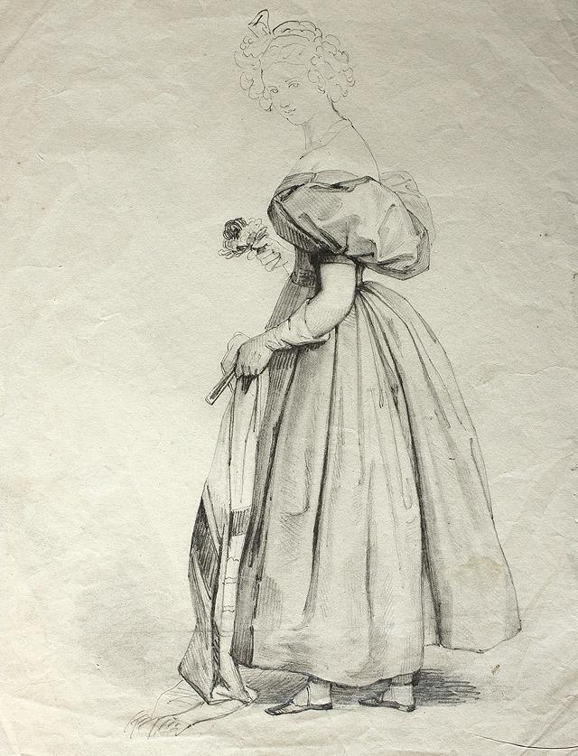 Rosario Weiss. Mujer con fular, abanico y flores. Burdeos o Madrid, 1830-1838. Lápiz negro sobre papel. Inv. 8697. Filigrana: una concha y, debajo de ésta, letras cortadas