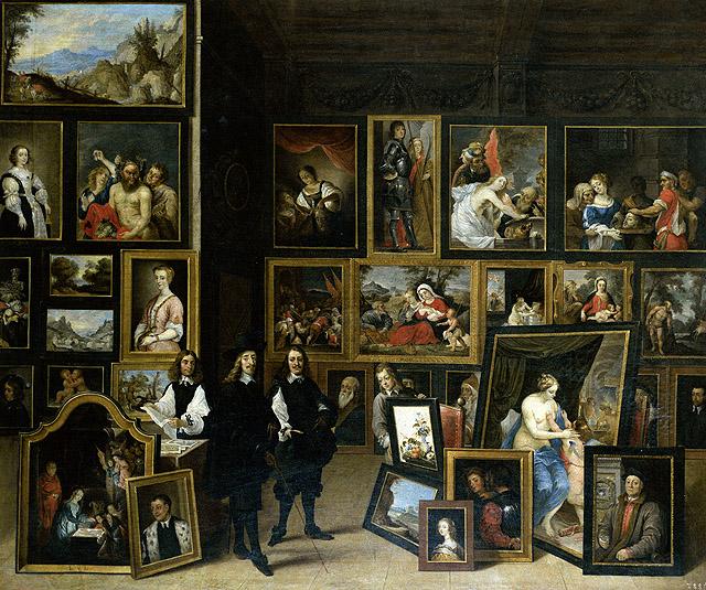 """DAVID TENIERS: """"El archiduque Leopoldo Guillermo visitando su colección de pinturas de Bruselas"""", 1651-1653. Museo Lázaro Galdiano, Madrid"""