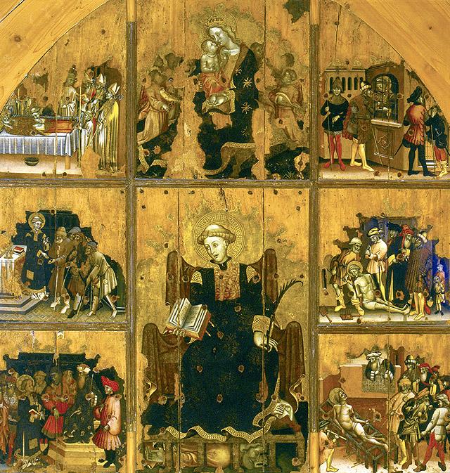 Maestro del políptico de Santa María: Retablo de san Lorenzo, ca. 1425-1430. Museo Regionale de Palazzo Bellomo, Siracusa