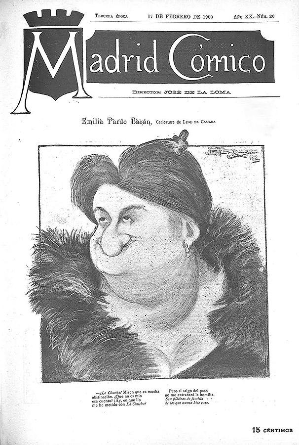 """La caricatura de Emilia Pardo Bazán por Tomás Leal da Câmara fue portada de la revista """"Madrid Cómico"""" el 17 de febrero de 1900"""