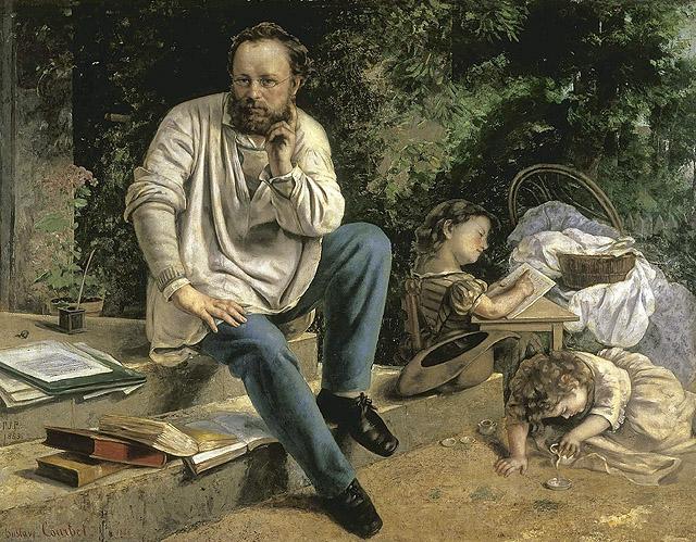 Gustave Courbet: Pierre-Joseph Proudhon y sus hijos en 1853, 1865-1867. Musée du Petit Palais, París.